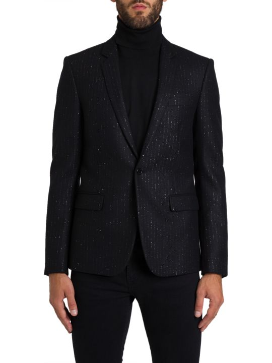 Saint Laurent Long Blazer With Shining Stripes