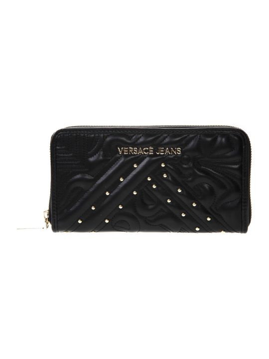 Versace Wallet In Quilted Black Faux Leather