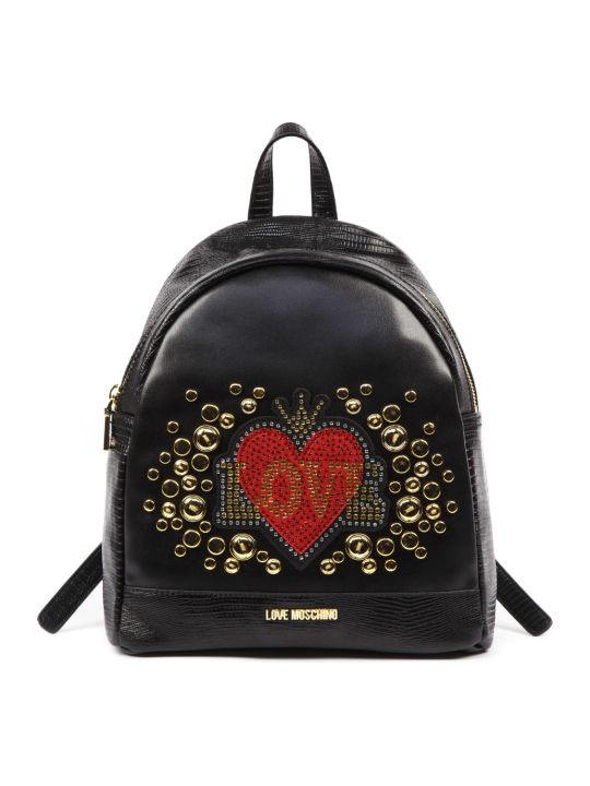 Love Moschino Embellished Love Backpack In Black Faux Leather With