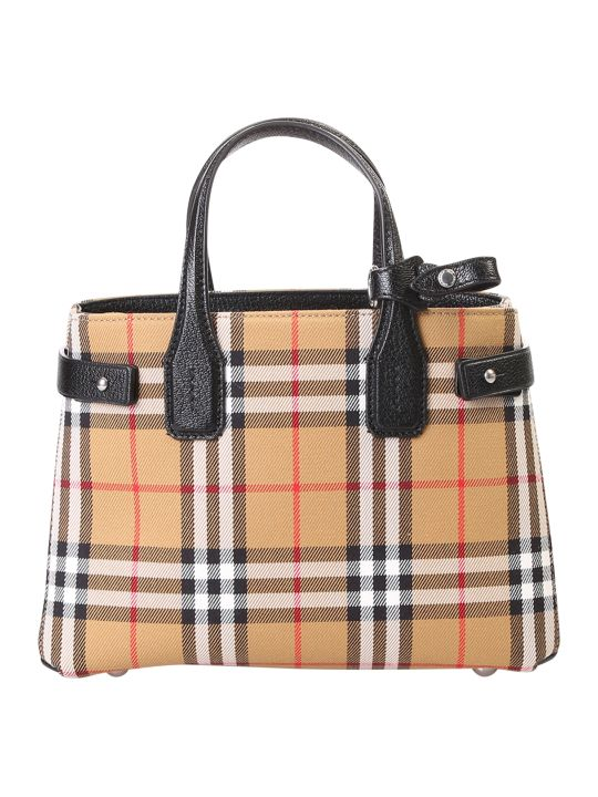 Burberry Small Banner Canvas And Leather Bag