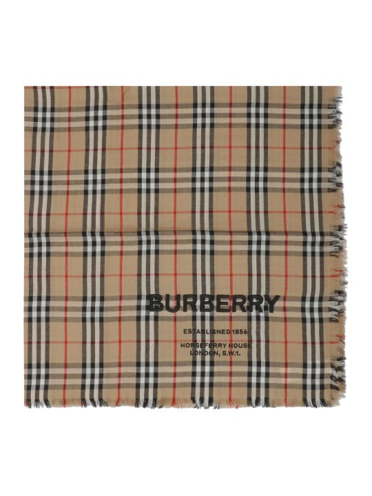 Burberry Embroidered Vintage Check Scarf