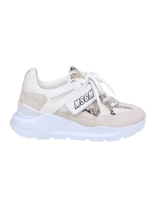 MSGM Sneakers In White Suede