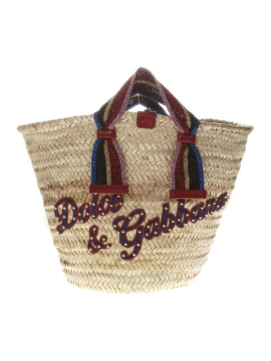 Dolce & Gabbana Kendra Natural & Multicolor Straw Bag