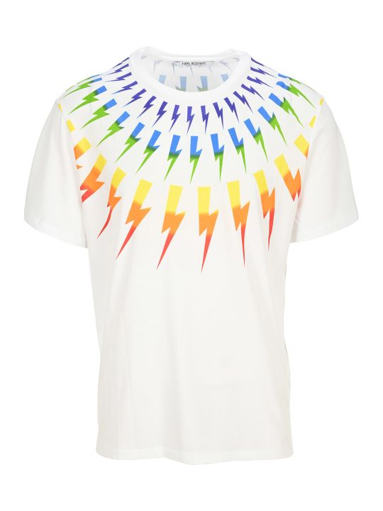 Neil Barrett Rainbow Thunder Bolt Print T-shirt