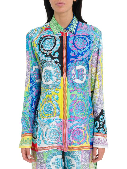 Versace Technicolor Baroque Print Shirt