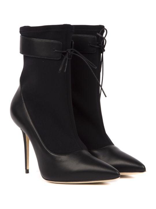 Manolo Blahnik Said Black Nappa & Textile Ankle Boots
