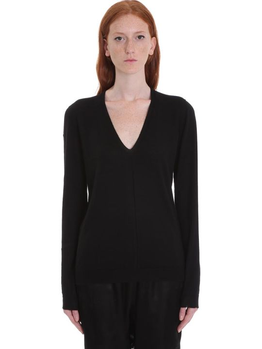 Rick Owens Soft V Neck Knitwear In Black Wool