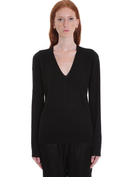 Rick Owens Soft V Neck Knitwear In Black Wool