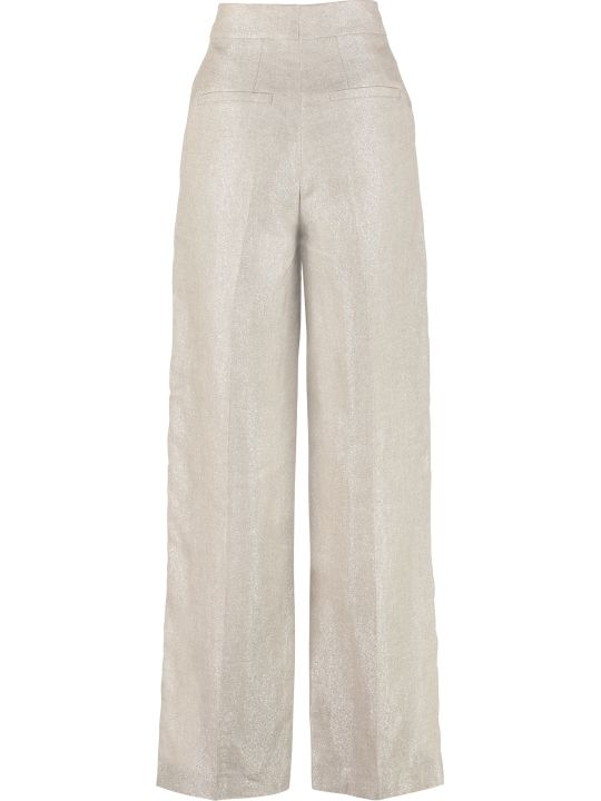 Brunello Cucinelli Knitted Lurex Wide-leg Trousers
