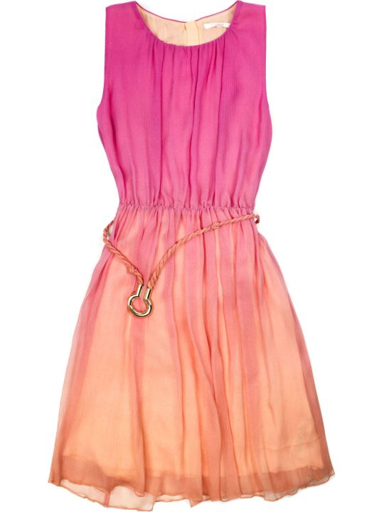 Chloé Pink And Orange Silk Blend Dress