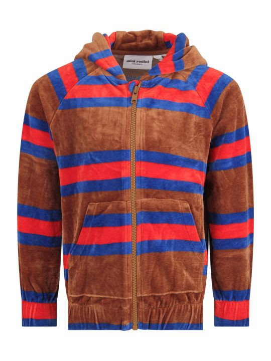 Mini Rodini Brown Kids Sweatshirt With Colorful Stripes