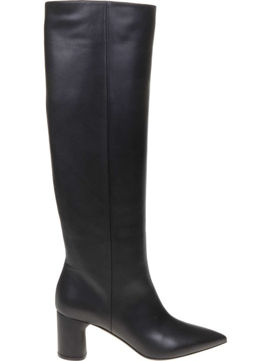 Casadei Agyness Leather Boot In Black Color