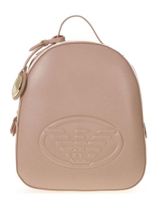Emporio Armani Black Saffiano Faux Leather Backpack