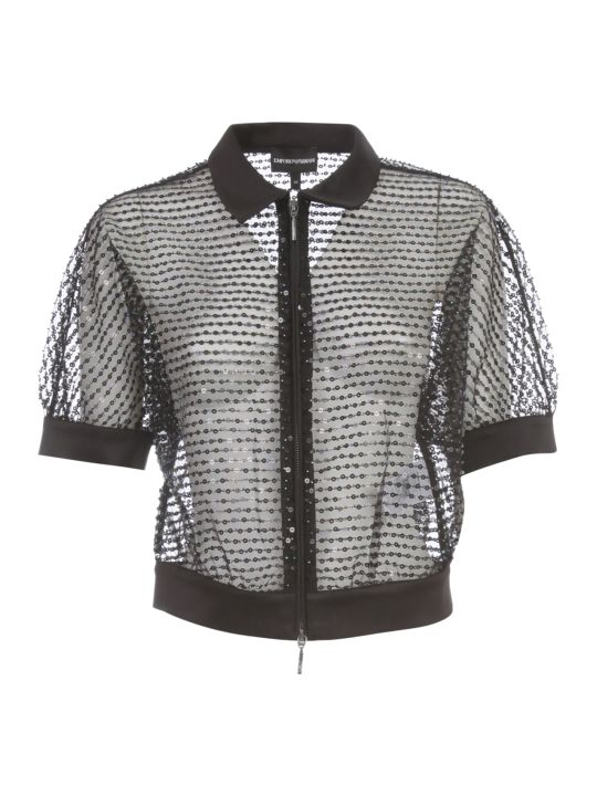 Emporio Armani Short Jacket S/s W/zip And Paillettes