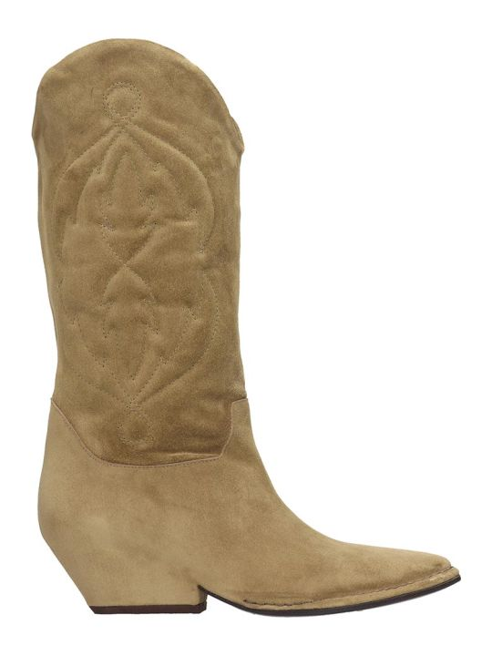 Roberto del Carlo Ankle Boots In Beige Suede