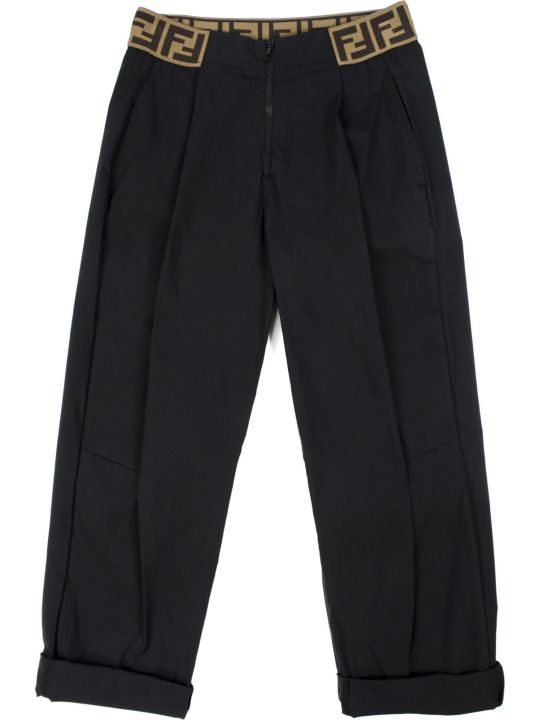 Fendi Black Stretch Cotton Blend Trousers