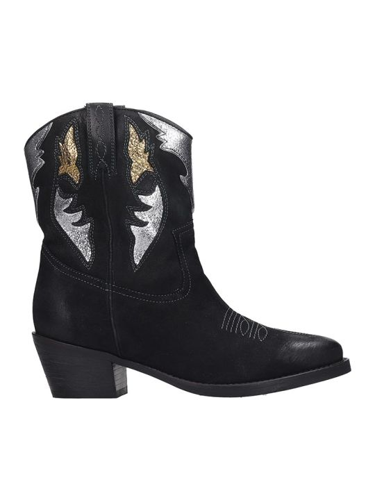 Bibi Lou Texan Ankle Boots In Black Nubuck