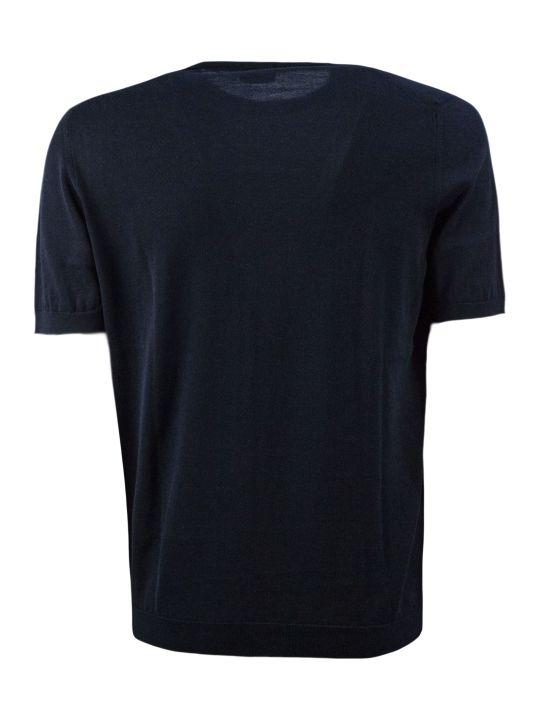 Drumohr Dark Blue Cotton T-shirt