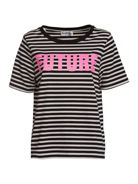 Essentiel Antwerp Black And White Striped T-shirt With Future Print In Black