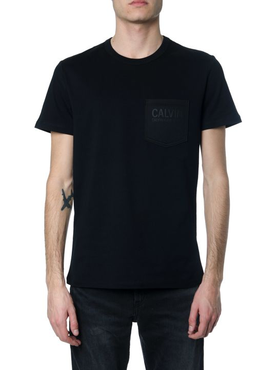 Calvin Klein Black Cotton T-shirt With Logoed Pocket