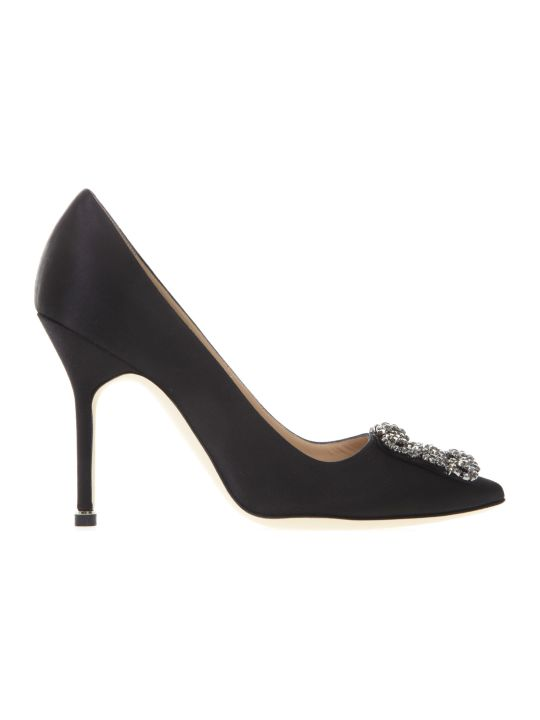 Manolo Blahnik Hangisi Black Satin Pumps