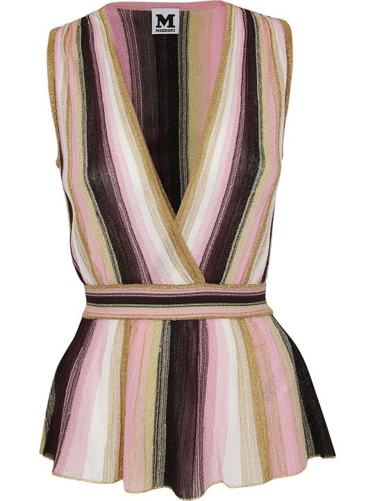 M Missoni V-neck Striped Top