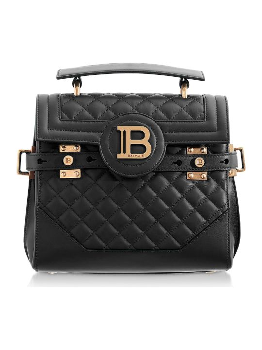 Balmain Black Quilted Leather 23 B-buzz Satchel Bag