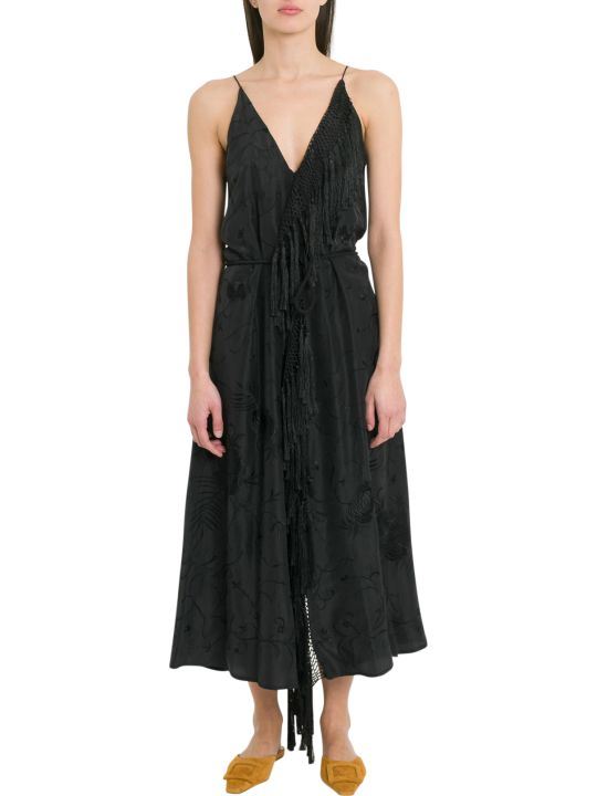 Forte_Forte Camisole Dress In Habotai Silk With Embroidery Work And Fringed Details