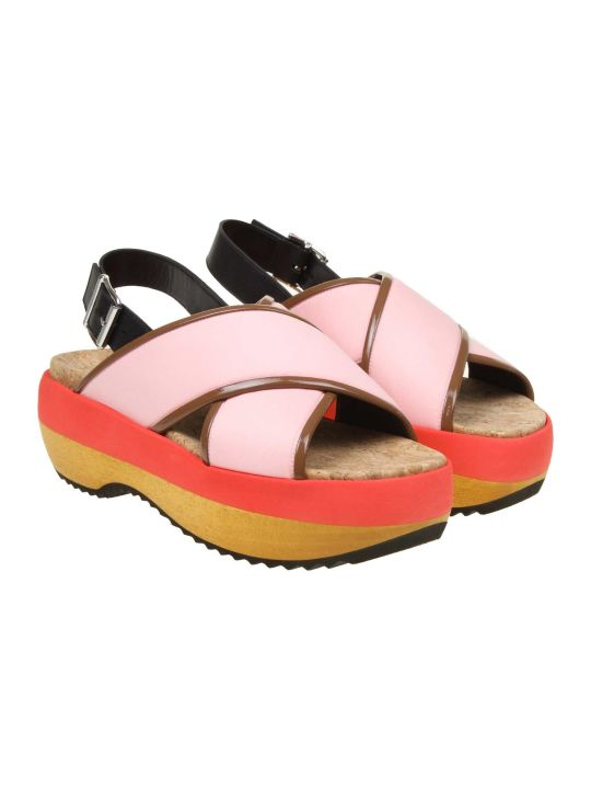 Marni Sandal In Technical Color Pink