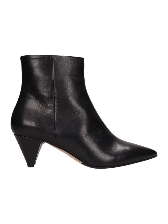 The Seller Pointed Toe Black Calf Leather Ankle Boots