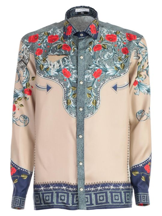 Versace Collection Shirt L/s Silk Western Printing