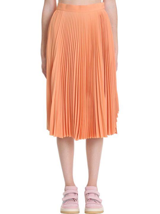 Acne Studios Ilky Flu Poly Skirt In Orange Polyester