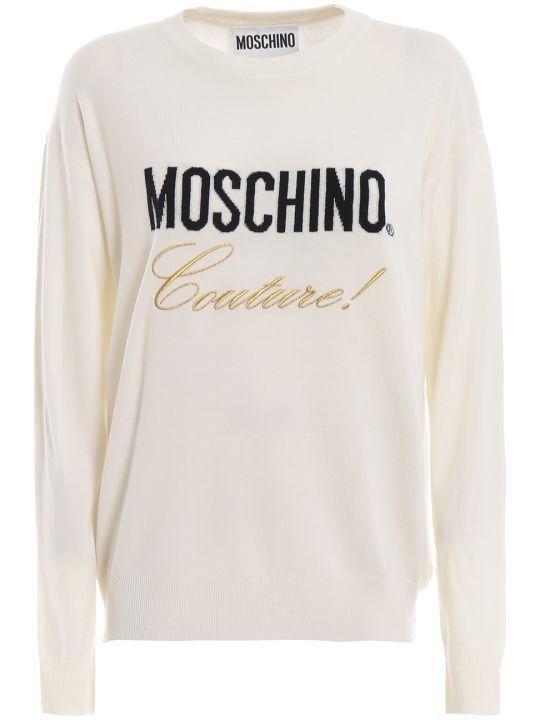 Moschino Logo Intarsia Off White Wool Sweater 09190500a1002