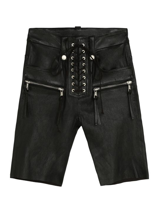 Ben Taverniti Unravel Project Leather Cyclist Shorts