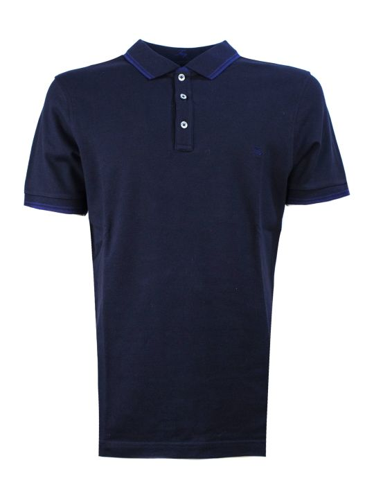 Fay Polo In Blue Piquet, Stretch-cotton
