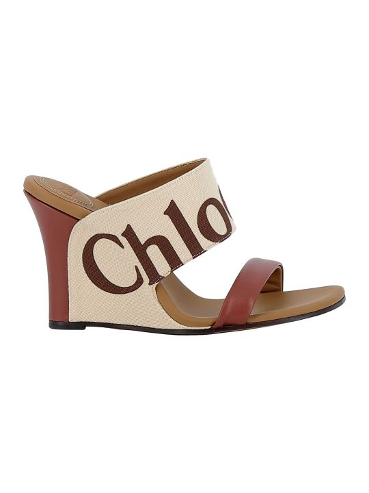 Chloé Chloe' Mild Beige Fabric/leather Sandals