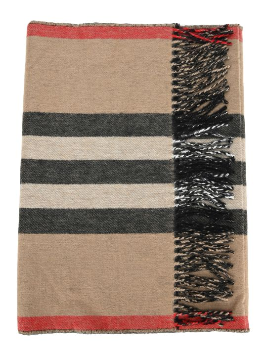Burberry London Reversible Cashmere Scarf With Iconic Striped Pattern