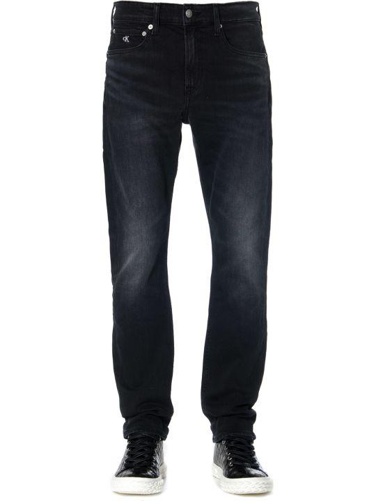 Calvin Klein Ck Logo Embroidered Black Denim Jeans