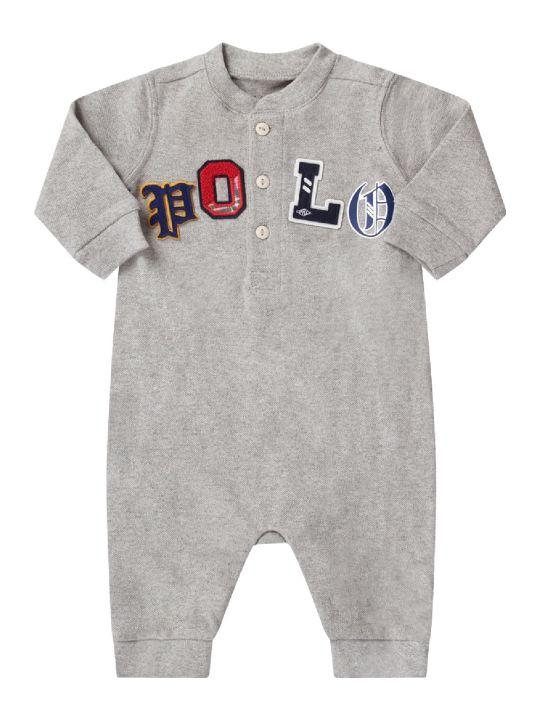 Ralph Lauren Grey Babyboy Babygrow With Colorful Logo