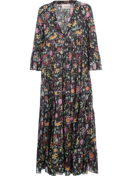 La DoubleJ Jennifer Jane Long Dress 3/4s V Neck Blooms Fantasy W/fluonce