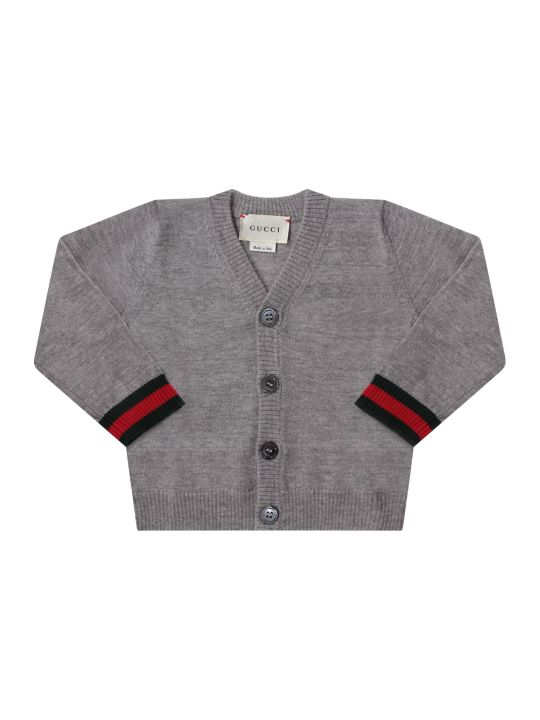 Gucci Grey Babyboy Cardigan With Web Detail