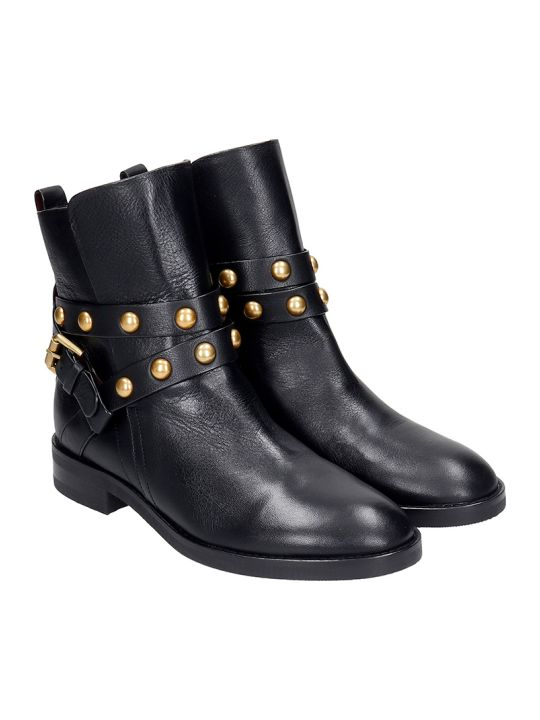 See by Chloé Janis Low Heels Ankle Boots In Black Leather