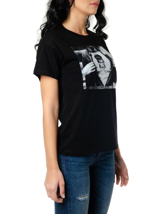 Frankie Morello Black Cotton T Shirt With Bowie Print