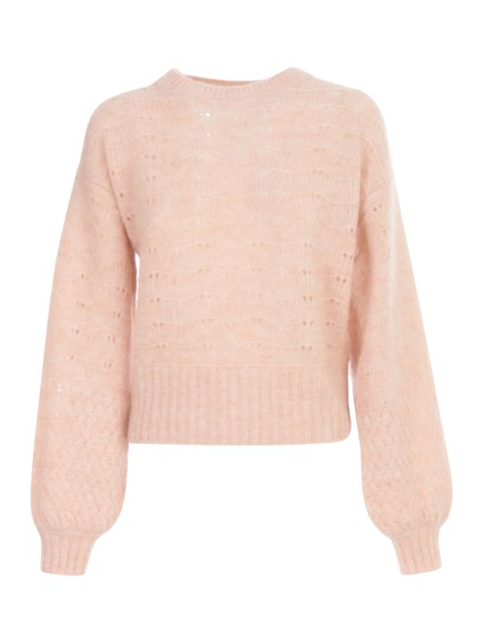 See by Chloé Alpaca Color Block Knit L/balloon Sleeves Crew Neck