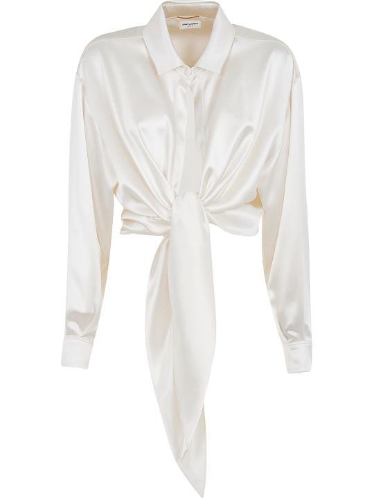 Saint Laurent Draped Cropped Shirt