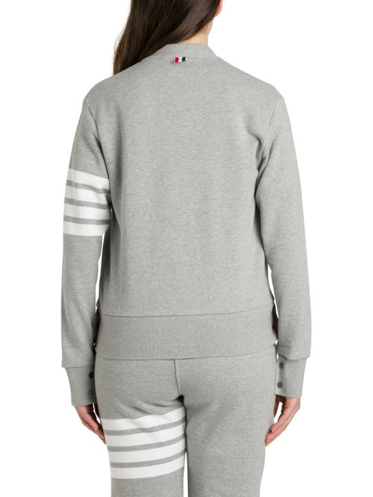 Thom Browne V Neck Cardigan In Classic Loop Back W/engineered 4 Bar
