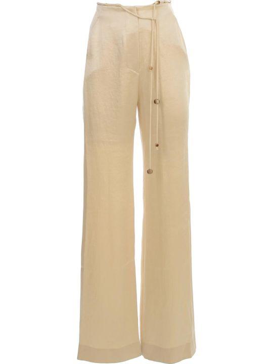 Nanushka Flax Pants Flared Satin