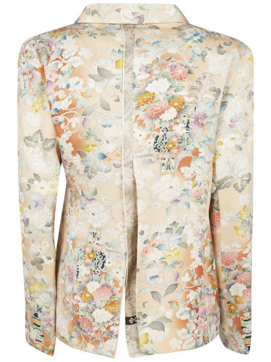 Ibrigu Floral Print Drawstring Blazer