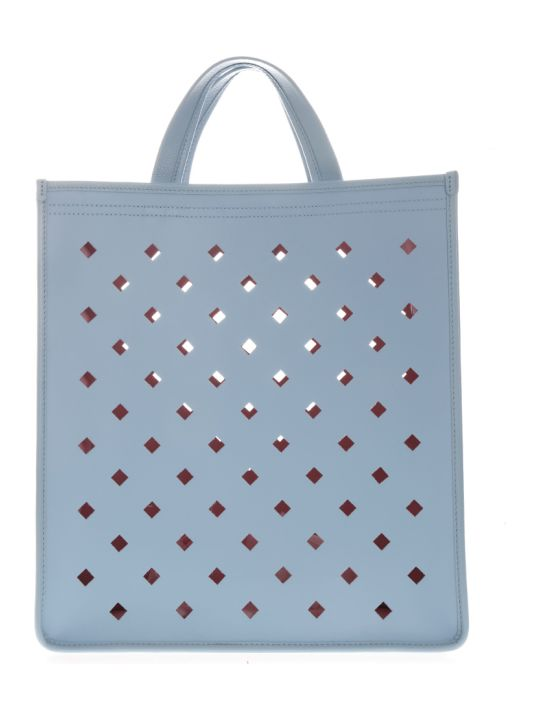 Coccinelle Light Blue Perforated Leather Shopper Bag
