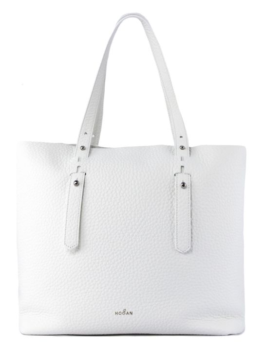 Hogan Shopping Bag In White Leather